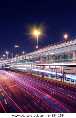 Across the highway from the city - stock photo