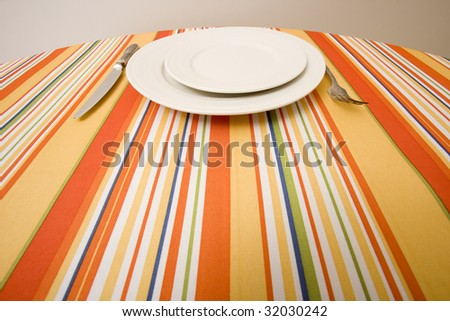 across the table -dining set - stock photo