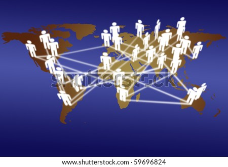 Across the World business people connect in network media communication. - stock photo
