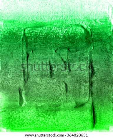 Acrylic abstract colorful hand painted pattern textured green  background