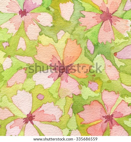 Acrylic and watercolor flower painted background. - stock photo
