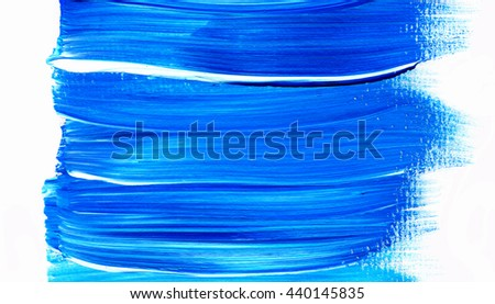 Acrylic brush stroke isolated on white background, texture. Grunge paper. Paint stain, paints blot. Ocean water or sky, maritime theme. Backdrop for scrapbook elements with space for text.