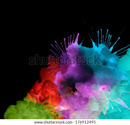 Acrylic colors in water. Abstract background. Invert version. - stock photo