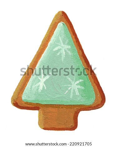 Acrylic gingerbread christmas tree cookie - stock photo