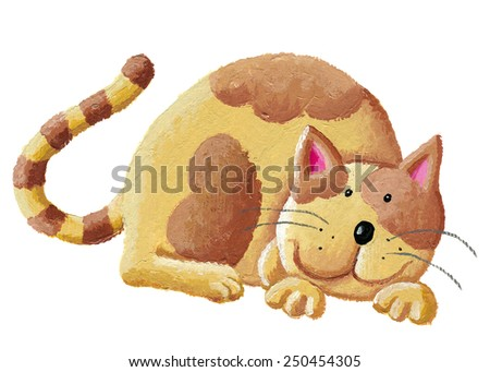 Acrylic hand made illustration of cute orange cat - artistic intent - stock photo