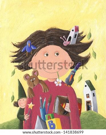 Acrylic illustration funny schoolboy - stock photo