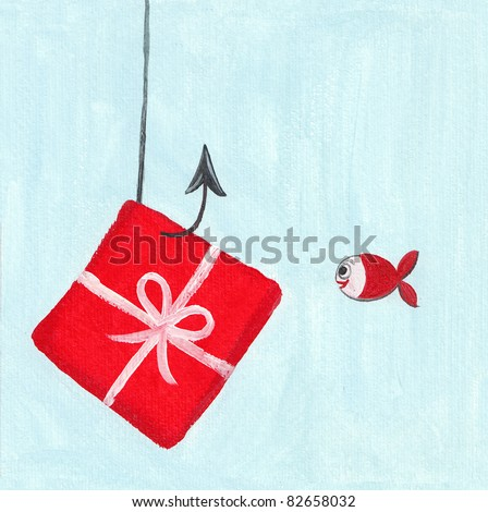 Acrylic illustration of a cute little fish with a big present - stock photo