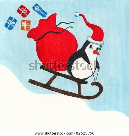 Acrylic illustration of a cute penguin driving sledge - stock photo