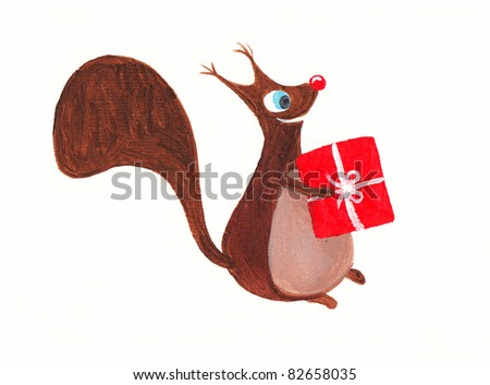 Acrylic illustration of a cute squirrel with a present - stock photo