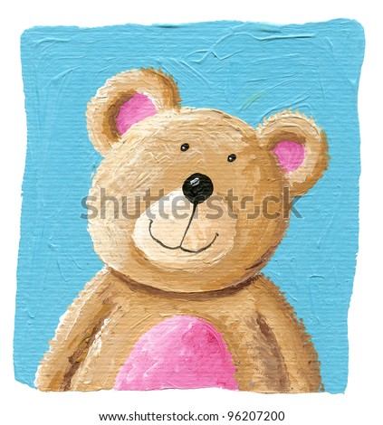 Acrylic illustration of a cute teddy bear on the blue background - stock photo