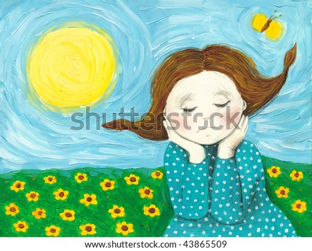 Acrylic illustration of a day dreamer girl
