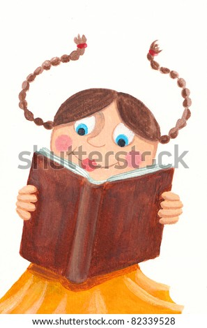 Acrylic illustration of a girl reading a book - stock photo