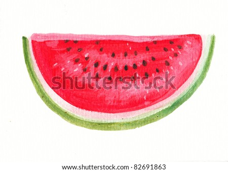 Acrylic illustration of a watermelon isolated on white background - stock photo