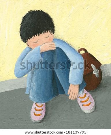 Acrylic illustration of abadoned little boy - stock photo