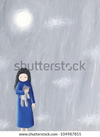 Acrylic illustration of abandoned little girl holding her teddy - stock photo