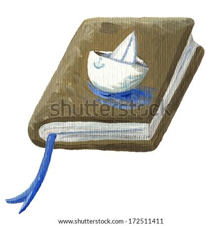 Acrylic illustration of adventure book - stock photo