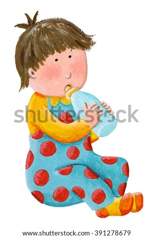 Acrylic illustration of baby boy with milk bottle - artistic content - stock photo