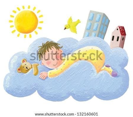 Acrylic illustration of baby sleeping on cloud - stock photo