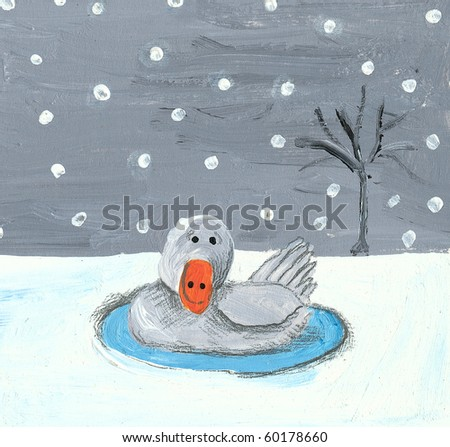 Acrylic illustration of baby swan in the winter - stock photo