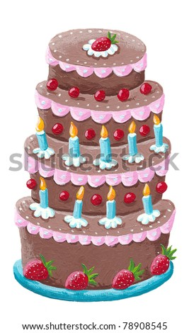 Acrylic illustration of birthday cake - stock photo