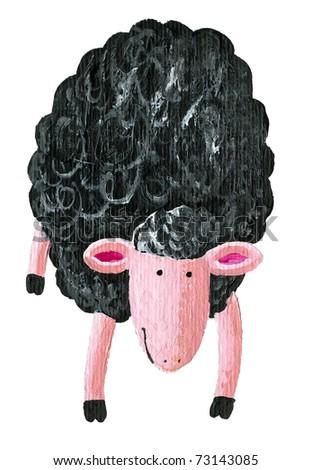 Acrylic illustration of  black sheep - stock photo