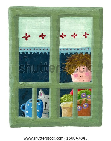 Acrylic illustration of boy and cat looking trough the window - stock photo