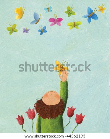 Acrylic illustration of Boy and colorful butterflies - stock photo