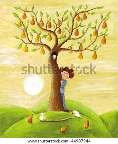 Acrylic illustration of Boy and pear tree - stock photo
