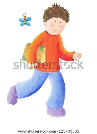 Acrylic illustration of boy goes to school - stock photo