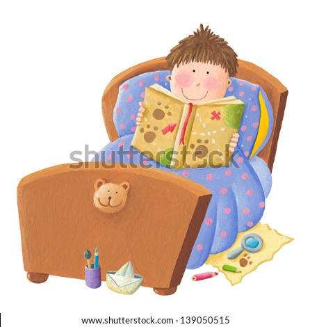 Acrylic illustration of Boy reading bed time story - stock photo