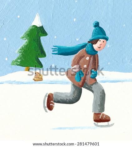 Acrylic illustration of boy sliding on winter skates - artistic content - stock photo