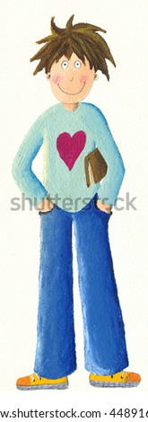 Acrylic illustration of Boy with book - stock photo