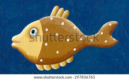 Acrylic illustration of brown fish - artistic content - stock photo