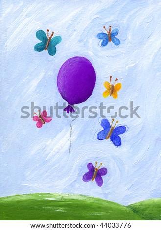 Acrylic Illustration of Butterflies and purple balloon - stock photo