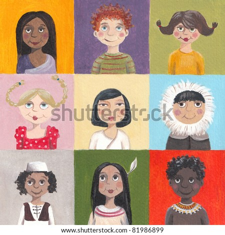 Acrylic illustration of children of the world - stock photo