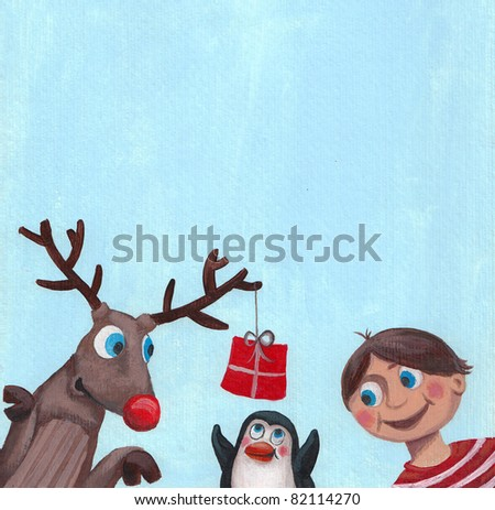 Acrylic illustration of Christmas card with funny friends - stock photo