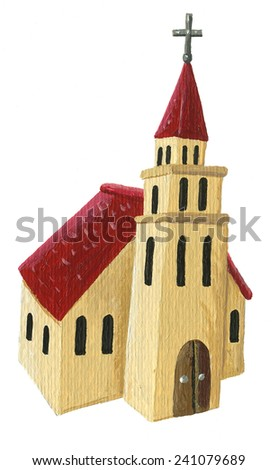 Acrylic illustration of church - stock photo
