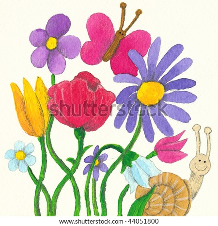 Acrylic illustration of colorful flowers, butterfly and snail - stock photo
