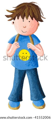 Acrylic illustration of cute boy in uniform going to school or kindergarten - artistic content - stock photo