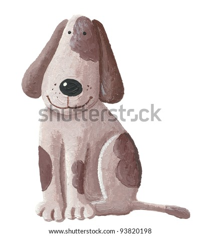 Acrylic illustration of cute brown dog - stock photo