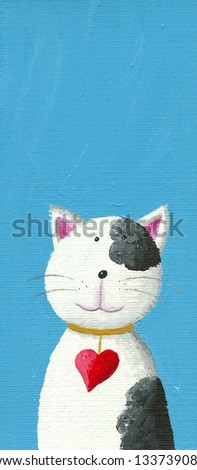 Acrylic illustration of Cute cat with heart necklace - stock photo