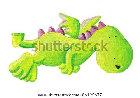 Acrylic illustration of cute green dragon flying - stock photo