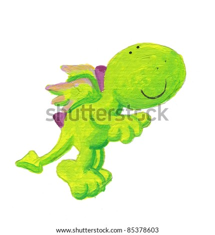 Acrylic illustration of cute little dragon jumping - stock photo