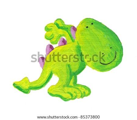 Acrylic illustration of cute little dragon prepares to jump - stock photo