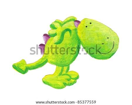 Acrylic illustration of cute little dragon ready to jump - stock photo