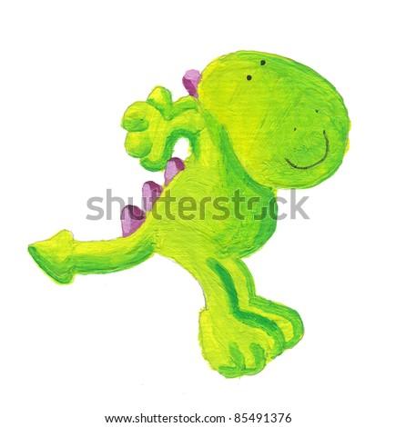 Acrylic illustration of cute little green dragon jumping - stock photo