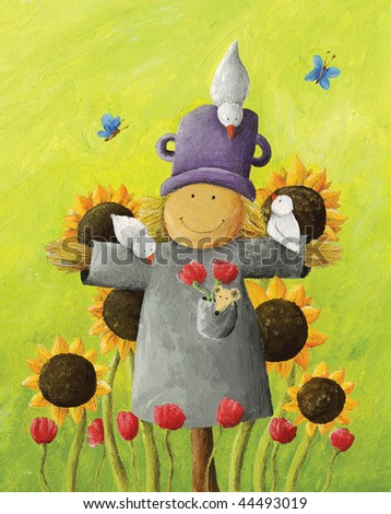 Acrylic illustration of Cute Scarecrow in sunflower field - stock photo