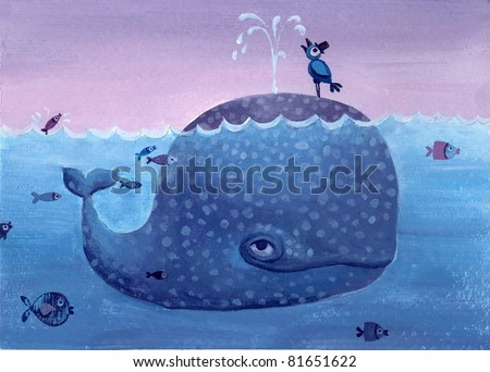 Acrylic Illustration of cute whale - stock photo