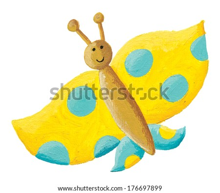 Acrylic illustration of cute yellow butterfly with blue dots - stock photo