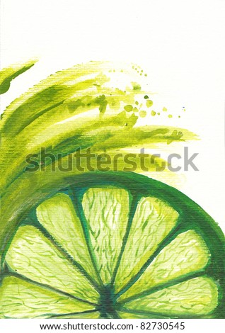 Acrylic illustration of drops of juice falling of the succulent lemon. A strong light behind the lemon gives the dark aspect. - stock photo